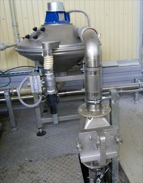 Сепаратор смонтирован для работы в одной линии с вибропросеивателем