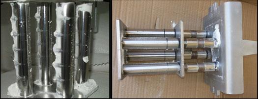 Собранная металлическая стружка от износа валов на мельнице